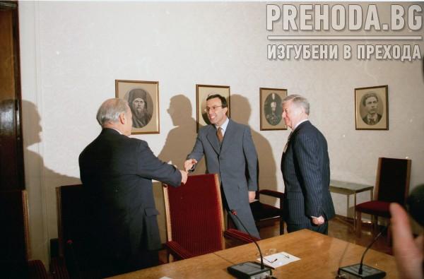 СТИВ ХАНКЕ - СРЕЩИ С ПРЕЗИДЕНТА П.СТОЯНОВ И ПРЕМИЕРЪ И.КОСТОВ